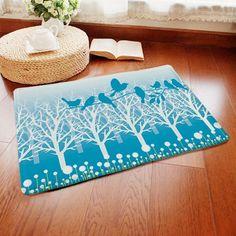 Short Plush Anti-slip Absorbent Birds Pattern Doormat Carpet -