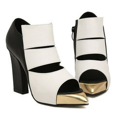 Gold Pointed Toe Chunky Heels Gladiator White Sandals