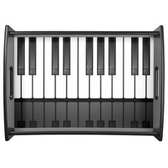 A stylish serving tray featuring keyboard keys with a subtle reflection.