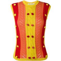 Christian Dior Vintage Knitted Pom Pom Embellished Vest (15 360 UAH) ❤ liked on Polyvore featuring outerwear, vests, embellished vest, red waistcoat, vintage waistcoat, red vest and sleeveless vest