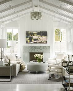 Glamorous all white living room via elle decor