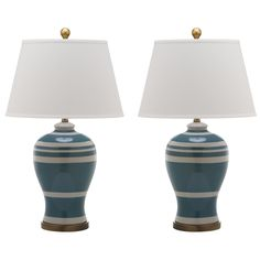 Safavieh Lighting 29-inch Pottery Blue Stripe Ginger Jar Lamp