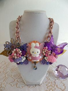 vintage glam Cathy bunny bib necklace by gumdropglamour on Etsy, $65.00