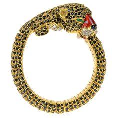 PIERINO FRASCAROLO Gold, Enamel & Diamond Bangle Tiger Bracelet