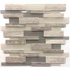 Avenzo 12-in x 12-in 3D Wooden Light Grey Stone and Glass Linear Mosaic Wall Tile | Lowe's Canada 9.99