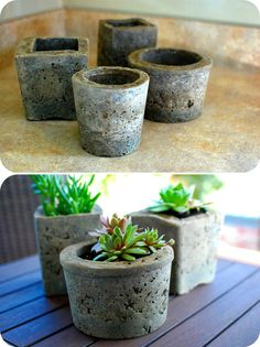 homemade pots made from cement.  A good way to use up the bags of cement we have.