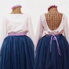 #totallook #invitadaPerfecta un dos piezas #falda de tul #tutuskirt con #cinturón trenzado cordón de seda y diadema de flores by #BualáDesign atelier