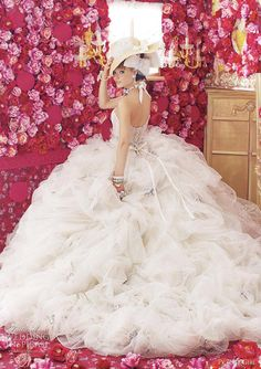 peachy girl wedding dress