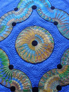 Fabulous quilting on this - Drunkards Path, Pieced by Terri Hulse. Freehand Quilted by Jessica's Quilting Studio