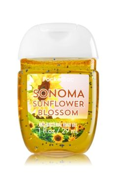 Sonoma Sunflower Blossom - PocketBac Sanitizing Hand Gel - Bath & Body Works - Now with more happy! NEW PocketBac is perfectly shaped for pockets & purses, making it easy to fight germs on-the-go! Plus, our all-new skin softening formula contains powerful germ-killers that keep your hands clean & soft.