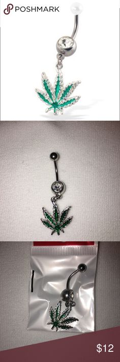 New Jeweled belly ring with dangling cannabis leaf New in package Surgical stainless steel 14 gauge crystal belly button ring with hanging cannabis leaf. Jewelry