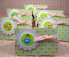 Valentine Treat Bag Toppers Green Owl Love by CarasScrapNStampArt, $4.50