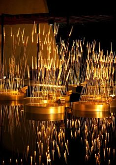 Beautiful Lighting Installation that Looks Like Glowing Rice Field – Royal Rice Field - The Great Inspiration for Your Building Design - Home, Building, Furniture and Interior Design Ideas Land Art, Landscape Lighting, Outdoor Lighting, Stage Design, Event Design, Blitz Design, Building Furniture, Beautiful Lights, Light Art