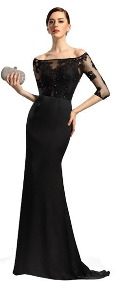 Long sleeves black lace evening dress mother dress