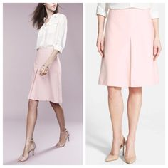 """Vince Camuto A line pleated Skirt A gorgeous hue of pink for your spring wardrobe stretch-cotton skirt in a classic A-line silhouette gets a touch of kicky movement from an inverted pleat down the front. 21"""" length Hidden back-zip closure. Front on-seam pockets. Fully lined. 98% cotton, 2% spandex. Vince Camuto Skirts A-Line or Full"""
