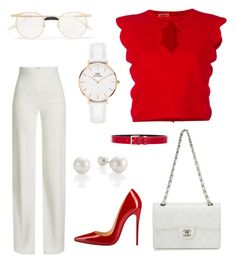 """Lady in red"" by doctorlia on Polyvore featuring Brandon Maxwell, Christian Louboutin, Giambattista Valli, Chanel, Daniel Wellington, Gucci and Lovers + Friends"