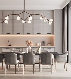 beautiful and affordable dining room decoration ideas 36 Kitchen Room Design, Modern Kitchen Design, Dining Room Design, Interior Design Living Room, Kitchen Grey, Apartment Interior, Room Interior, Modern Interior, Elegant Dining Room