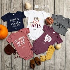 Personalized Thanksgiving Infant and Toddler One-Piece Collection Little Pumpkin, Mother Day Gifts, Baby Bodysuit, Throw Pillow Covers, Little Ones, Baby Shower Gifts, Infant, Onesies, Thanksgiving