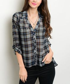 Another great find on #zulily! Black & Blue Plaid Hi-Low Top #zulilyfinds