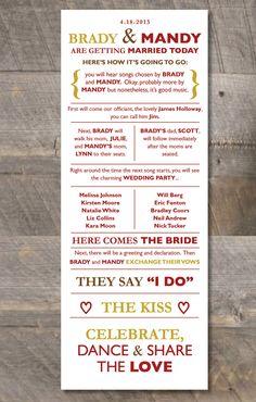 Printable DIY Wedding Program : Casual & Fun. $30.00, via Etsy.