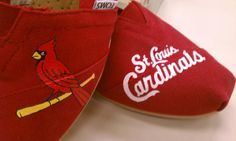 Custom Painted St Louis Cardinals Toms. I MUST HAVE.