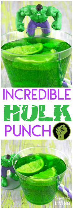 What is GREEN, simple and packs a PUNCH? This Incredible Hulk Punch is! It's the perfect way to show your love for the greenest, meanest Avenger around! Hulk Birthday Cakes, Hulk Birthday Parties, Superhero Birthday Cake, Superhero Party, Boy Birthday, Birthday Ideas, Incredible Hulk Party, Hulk Cakes, Cocktails