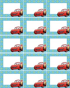 Printable Name Tags, Printable Labels, Car Themed Parties, Cars Birthday Parties, Diy Craft Projects, Diy And Crafts, Crafts For Kids, Notebook Labels, Cars Invitation
