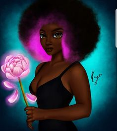 """Peony"" Illustrated by 〰 Nubiamancy is a horror, fantasy, and science fiction social media platform, and soon-to-be film… Sexy Black Art, Black Love Art, Black Girl Art, My Black Is Beautiful, Black Girls Rock, Black Girl Magic, Art Girl, African American Art, African Art"