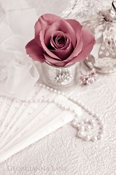 Dusty pink rose, pearls and a fan