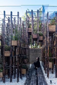 vo trong nghia builds 'green ladder' pavilion from bamboo