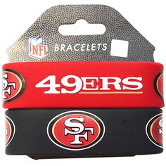 Great for any sports fan and an official product of NFL, this set of two wristbands features the designs of San Francisco 49ers. These wrist bands offer two different colors and designs. Brand: Aminco