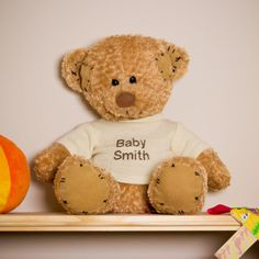 Patch is a personalised keepsake teddy bear. He will look fantastic on a shelf in a nursery showing off his jumper! Definitely a one to be treasured. #personalised #bunting #giftguide #instagift #mumsinbusiness #blanket #taggies #unique #gift #babygifts #aprons #towels #instacool #fabric #nurserydecor #nursery #handmade #kidsgifts #giftideas #present #babyshower #christening #birthday #presents