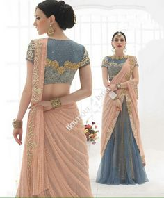 Sarees - Peach/ Pink, Grayish Blue And Golden Bridal Collections - Resplendent Bridal Designer Wedding Special Collections / Wedding / Party / Special Occasions / Festival