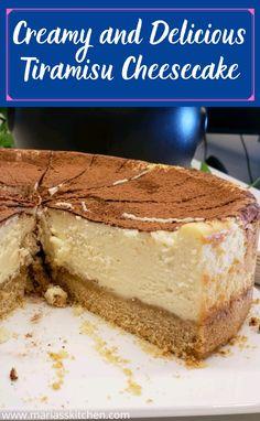 Creamy and Delicious Tiramisu Cheesecake - Maria's Kitchen Mint Chocolate Cheesecake, Banana Cream Cheesecake, Tiramisu Cheesecake, No Bake Lemon Cheesecake, Tiramisu Recipe, Chocolate Chip Recipes, Pumpkin Cheesecake, Cheesecake Recipes, Chocolate Chips