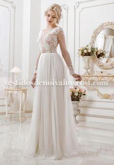 Vestido de Noiva em Renda Saia em Tule