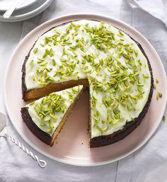 Nadiya's rich, fragrant orange polenta cake with pistachios is a gorgeous tea time treat. No Bake Desserts, Delicious Desserts, Yummy Food, Gluten Free Sweets, Gluten Free Baking, Baking Recipes, Cake Recipes, Dessert Recipes, Eid Moubarak