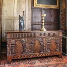 Elizabeth I carved inlaid chest, Marhamchurch antiques