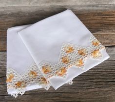 Vintage Pillowcases Crocheted 1950s Home Decor by Misstiques, $14.00