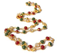 Handmade Red Green jade Stone Long Necklace / by ArmCandyForYou, $25.00