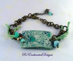 Blue Azure Leaf Pattern Handmade Pottery Cuff Bracelet - Brass Chain, Agate Charms, Silk Ribbon