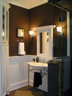 Bathroom paint colors with dark cabinets dark bathroom colors brown bathroom decor color ideas designs dark . Brown Bathroom Paint, Bathroom Colors Brown, Dark Brown Bathroom, Dark Brown Walls, Brown Paint Colors, Brown Bathroom Decor, Bathroom Paint Colors, Bathroom Interior, Bathroom Ideas