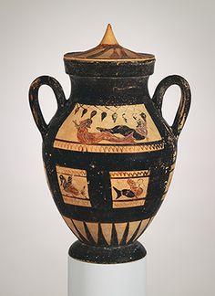 Amphora (Jar) with Lid, 3rd quarter of the 6th century b.c. Etruscan, black-figure, Pontic ware Terracotta