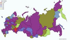 Russian Federal Subjects by Decade of Creation