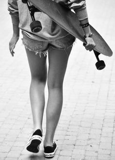 shorts, converse, longboard - thats all