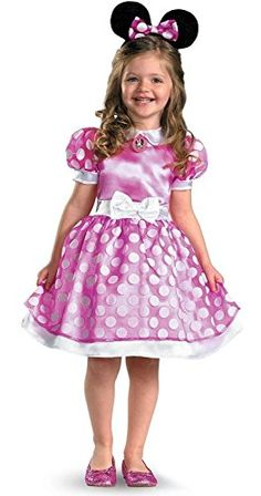 7d97f738e931 Minnie Mouse Clubhouse Classic Costume Size: Child White polka dotted dress  and sleeves Attached bow on waist Matching headpiece included Minnie Mouse  cameo ...