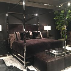 Bernhardt chrome metal canopy bed