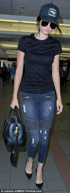 New couple: Kendall Jenner catches a flight out of LAX on Wednesday. The model and Nick Jo...