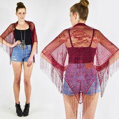 vtg 90s 70s boho hippie SHEER floral LACE crochet FRINGE shawl wrap cape S/M/L $18.00