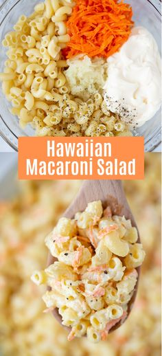 LOVE this recipe for World's Best Hawaiian Macaroni Salad. It's the perfect dish for a summer BBQ or potluck! LOVE this recipe for World's Best Hawaiian Macaroni Salad. It's the perfect dish for a summer BBQ or potluck! Hawaiian Dishes, Hawaiian Bbq, Hawaiian Recipes, Hawaiian Snacks, Hawaiian Macaroni Salad, Best Macaroni Salad, Macaroni Salad With Chicken, Hawaiin Food, Gourmet