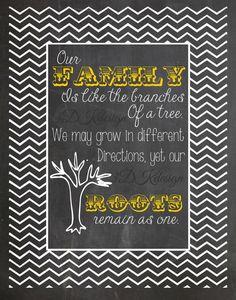 Family Tree quote chalkboard style print, chevron